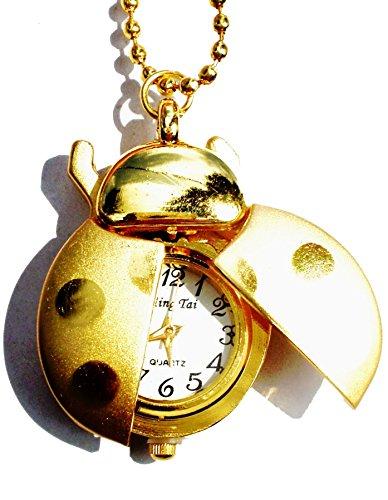 Zeigt Halskette in Marienkaefer Form Farbe Gold