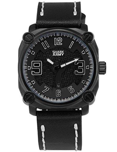 SHARK ARMY Herren Militaer Armbanduhr Datumsanzeige Quadrat Gehaeuse Schwarz Lederband SAW223