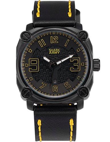 SHARK ARMY Herren Militaer Armbanduhr Datumsanzeige Quadrat Gehaeuse Schwarz Lederband SAW226