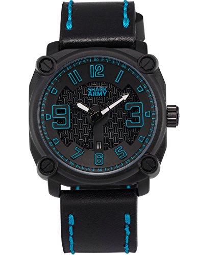 SHARK ARMY Herren Militaer Armbanduhr Datumsanzeige Quadrat Gehaeuse Schwarz Lederband SAW225