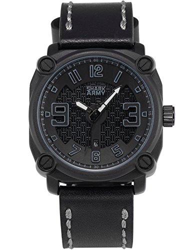 SHARK ARMY Herren Militaer Armbanduhr Datumsanzeige Quadrat Gehaeuse Schwarz Lederband SAW227