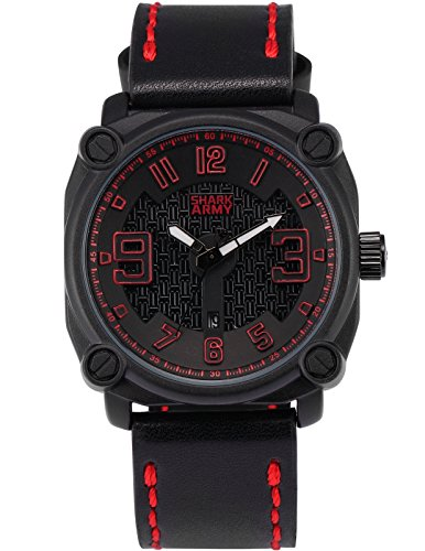 SHARK ARMY Herren Militaer Armbanduhr Datumsanzeige Quadrat Gehaeuse Schwarz Lederband SAW224