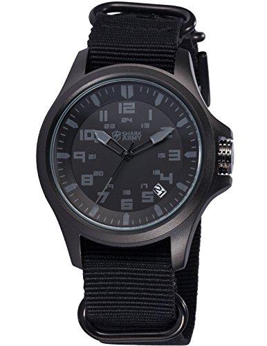 SHARK ARMY Schwarze Armband aus Nylon Datumanzeige SAW087