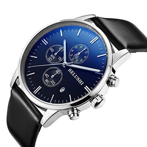 ML Armbanduhr fuer Herren leuchtend wasserdicht Chronograph Edelstahl Quarz Uhr mit Datum und Stoppuhr