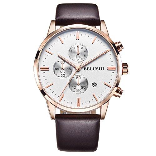 ML LUMINOUS HERREN Wasserdicht Chronograph Edelstahl Quarz Uhr mit Datum Stoppuhr