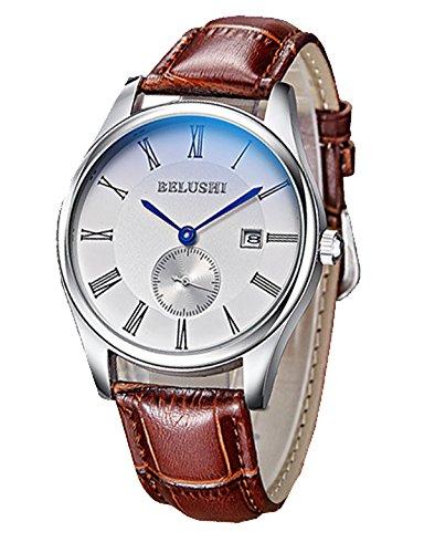 ML Retro roemischen gross wasserdicht weiss Face Herren Braun Leder Band Quarz Uhren mit Datum