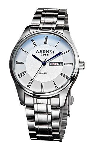 ML Retro roemischen Silber Ton wasserdicht weiss Face Herren Classy Quarz Uhren mit Kalender