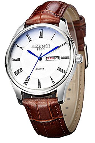 ML Retro roemischen Ziffern Leder braun wasserdicht weiss Face Herren Classy Quarz Uhren mit Kalender