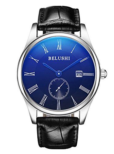 ML Retro Roman Wasserdicht Schwarz Face Classy Herren silberfarbenes Quarz Uhren mit Datum