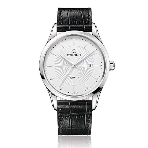 Eterna Artena MenHerren-Armbanduhr 17251562 Analog-Anzeige und schwarzem Lederarmband 252041111258