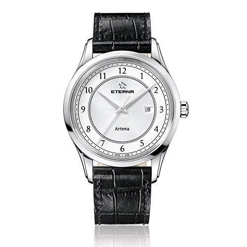 eterna artena Herren Quarz-Uhr mit weissem Zifferblatt Analog-Anzeige und schwarz Lederband 252041641258