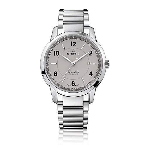 Eterna Tangaroa MenAutomatik Uhr silbernes Zifferblatt Analog-Anzeige und Silber-Edelstahl-Armband 294841530277