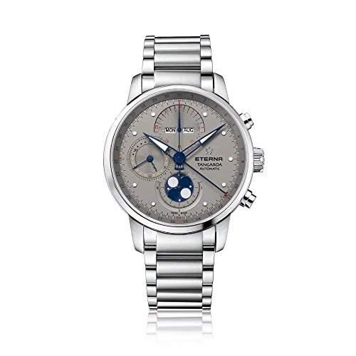 eterna Tangaroa Herren Automatik Uhr mit grauem Zifferblatt Analog-Anzeige und Silber Edelstahl Armband 294941160277