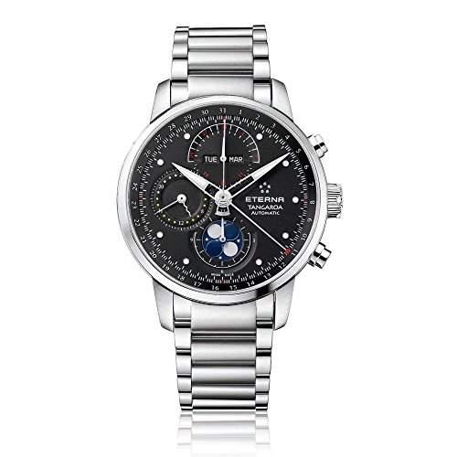 eterna Tangaroa Herren Automatik Uhr mit schwarzem Zifferblatt Analog-Anzeige und Silber Edelstahl Armband 294941460277