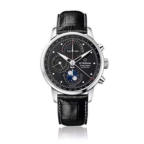 eterna Tangaroa Herren Automatik Uhr mit schwarzem Zifferblatt Analog-Anzeige und schwarz Lederband 294941461261