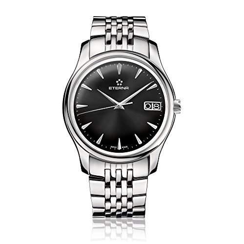 eterna Vaughan Herren Automatik Uhr mit schwarzem Zifferblatt Analog-Anzeige und Silber Edelstahl Armband 763041501227