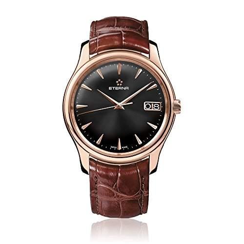 eterna Vaughan Herren Automatik Uhr mit weissem Zifferblatt Analog-Anzeige und braunem Lederband 763069511185