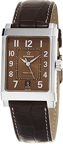 eterna 1935 eterna matic Grande Herren Armbanduhr Braun Lederband Swiss Automatische 8492 41 24 1163d