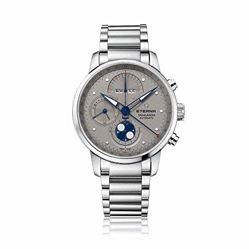 eterna Tangaroa Herren Automatik Uhr mit grauem Zifferblatt Analog Anzeige und Silber Edelstahl Armband 2949 41 16 0277