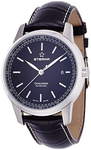 Eterna Tangaroa Herren Armbanduhr 42mm Armband Leder Schwarz Gehaeuse Edelstahl Automatik 2948 41 41 1261