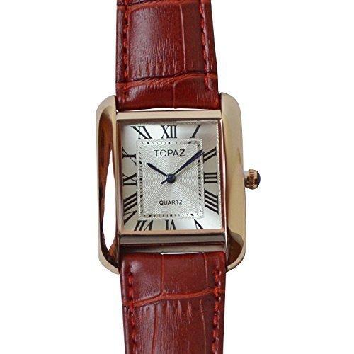 Topaz Unisex 5068 AML Rose Gold Case Silber Face Rot Band Fashion Uhr mit Classic Design