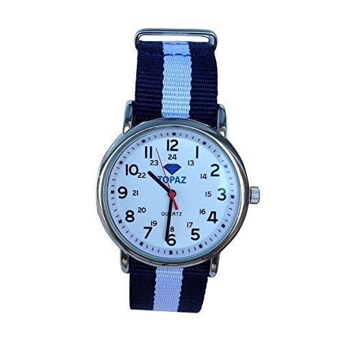 Topaz Unisex t10bz113 jeder Zeit Casual Wochenende silberfarbenes Uhr mit Blau und Weiss Nylon Band