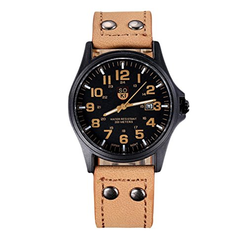 WINWINTOM Jahrgang Mens Wasserdicht Datum Lederband Sport Quarz Army Watch KK