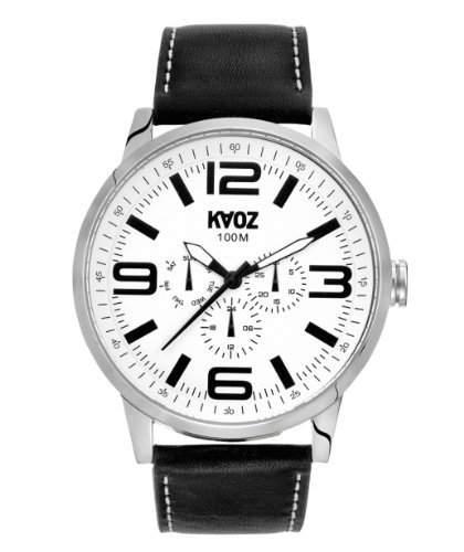 KA:OZ Herren - Armbanduhr Chrono Analog Quarz Big Schwarz Leder A76175S0I