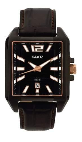 KA:OZ Herren - Armbanduhr Analog Quarz Leder 5 bar Schwarz Kalender A58859SS5I