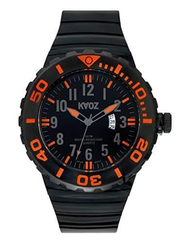 KA:OZ Herren - Armbanduhren Big Analog Quarz Silikon Kalender A87101-2SS5A