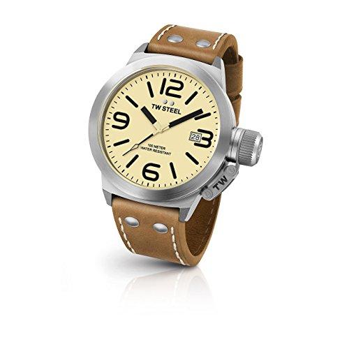 TW Steel 325 Herren Kantine Braun Lederband Band beige Zifferblatt Armbanduhr
