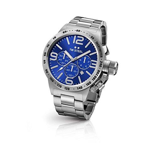 TW Steel CB13 Herren Kantine Edelstahl Silber Armband Band Blau Zifferblatt Armbanduhr