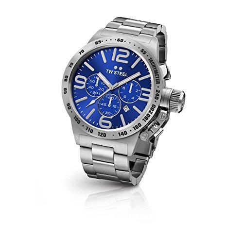 TW Steel CB14 Herren Kantine Armband Silber Band Blau Zifferblatt Armbanduhr