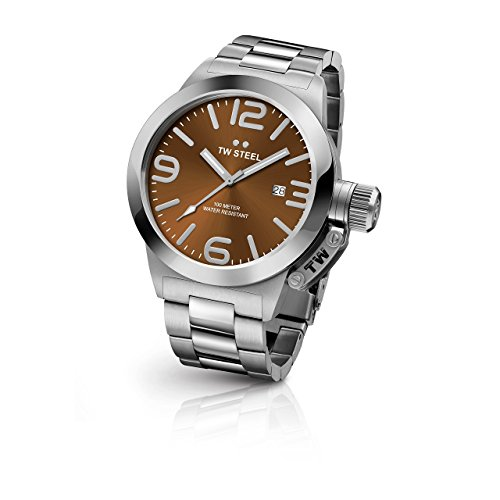 TW Steel CB22 Herren Kantine Armband Silber Band Braun Zifferblatt Armbanduhr