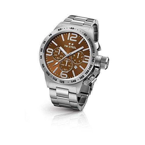 TW Steel CB24 Herren Kantine Armband Silber Band Braun Zifferblatt Armbanduhr