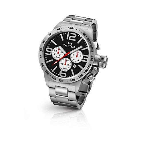 TW Steel CB3 Herren Kantine Silber Edelstahl Armband Band Schwarz Zifferblatt Armbanduhr