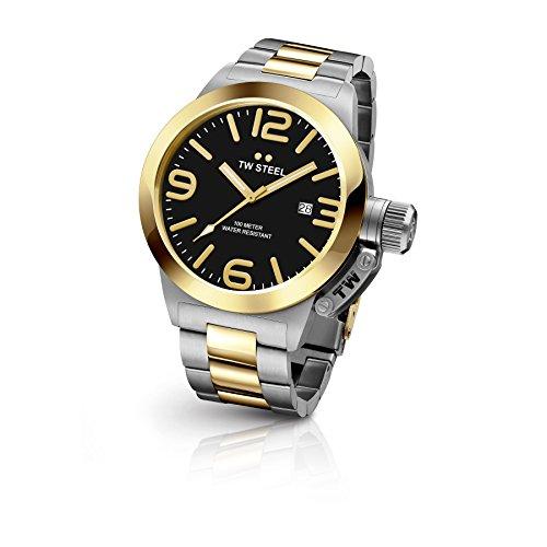 TW Steel CB42 Herren Kantine zweifarbigen Armband Band Schwarz Zifferblatt Armbanduhr