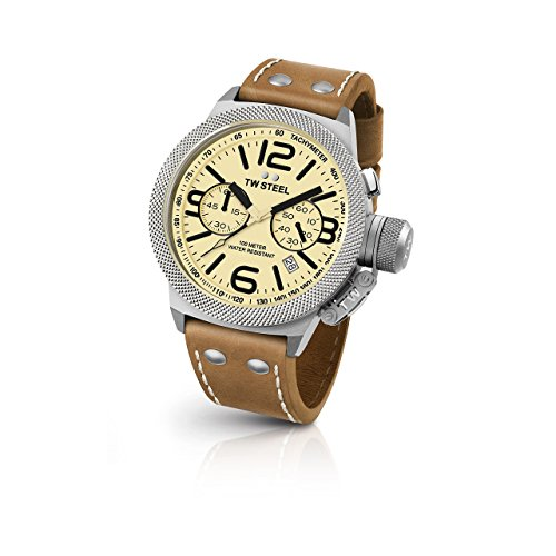 TW Steel CS13 Herren Kantine Braun Lederband Band beige Zifferblatt Armbanduhr