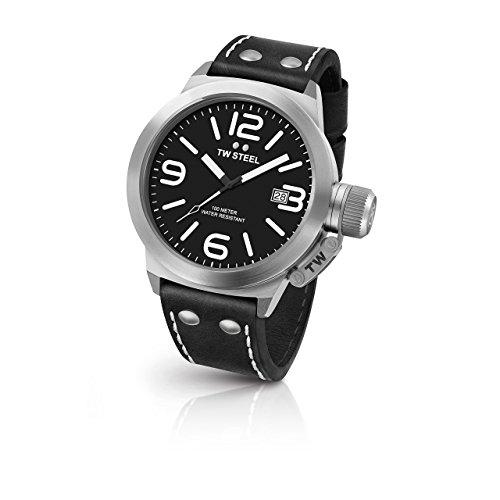 TW Steel CS2 Kantine Schwarz Leder Strap Band Schwarz Zifferblatt Armbanduhr