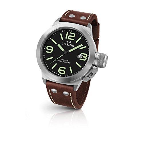 TW Steel CS22 Herren Edelstahl Kantine Braun Lederband Schwarz Zifferblatt Uhr