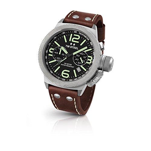 TW Steel CS24 Herren Edelstahl Kantine Braun Leder Band Schwarz Zifferblatt Armbanduhr