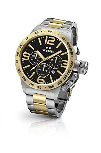 TW Steel Herren Kantine Armband bicolor Chronograph Schwarz Zifferblatt Armbanduhr