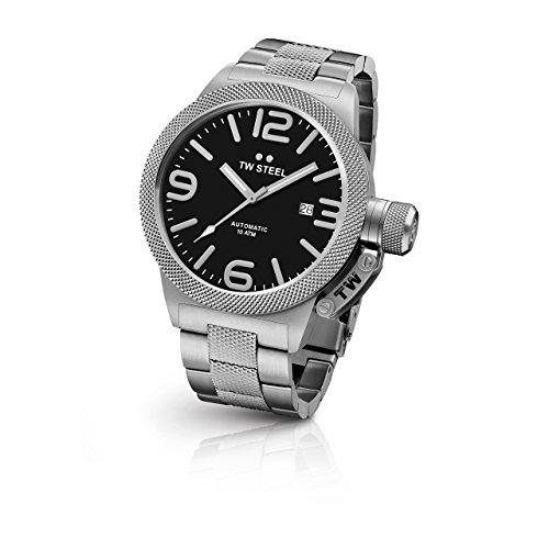 TW Steel Kreativitaet Ideen Herren Kantine Silber Edelstahl Armband Band Schwarz Zifferblatt Armbanduhr