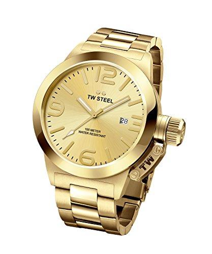 TW Steel Canteen Unisex Quarzuhr mit goldenem Zifferblatt Analoganzeige Silber und Rose goldenes Armband