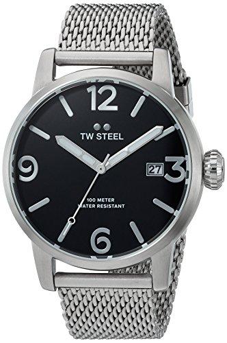 TW Steel Maverick Unisex Quarzuhr mit schwarzem Zifferblatt Analoganzeige und grauem Edelstahl Armband