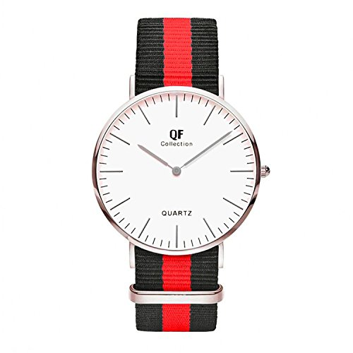 QF Watch Armbanduhr Silver Line Nylon Nato Strap Unisex Farbe Uhren Variation 2