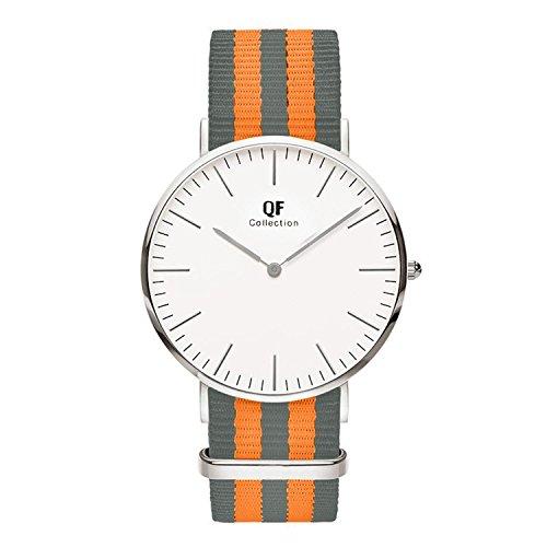 QF Watch Armbanduhr Silver Line Nylon Nato Strap Unisex Farbe Uhren Variation 6