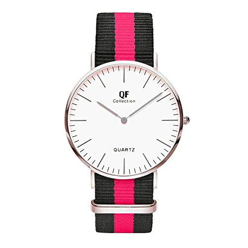 QF Watch Armbanduhr Silver Line Nylon Nato Strap Unisex Farbe Uhren Variation 5