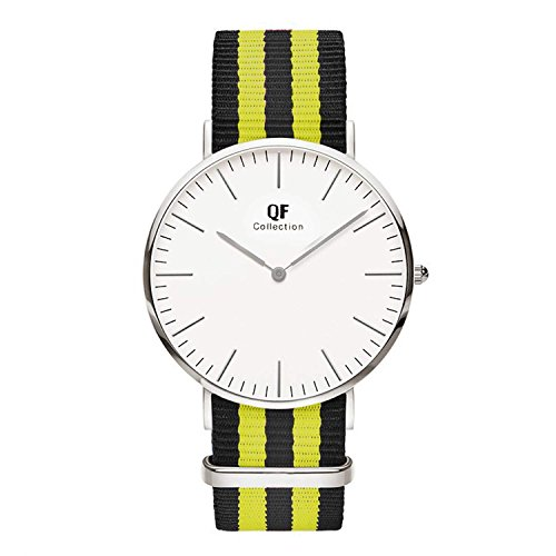 QF Watch Armbanduhr Silver Line Nylon Nato Strap Unisex Farbe Uhren Variation 3