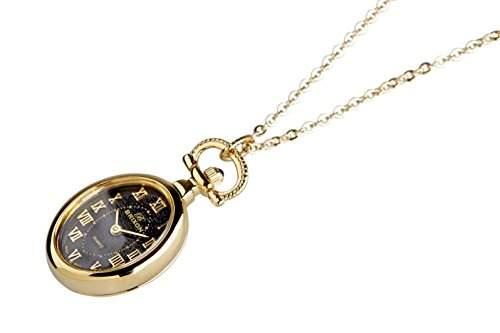 Brixon Damen-Taschenuhr Umhaengeuhr Analog Quarz gold schwarz 8429DRS